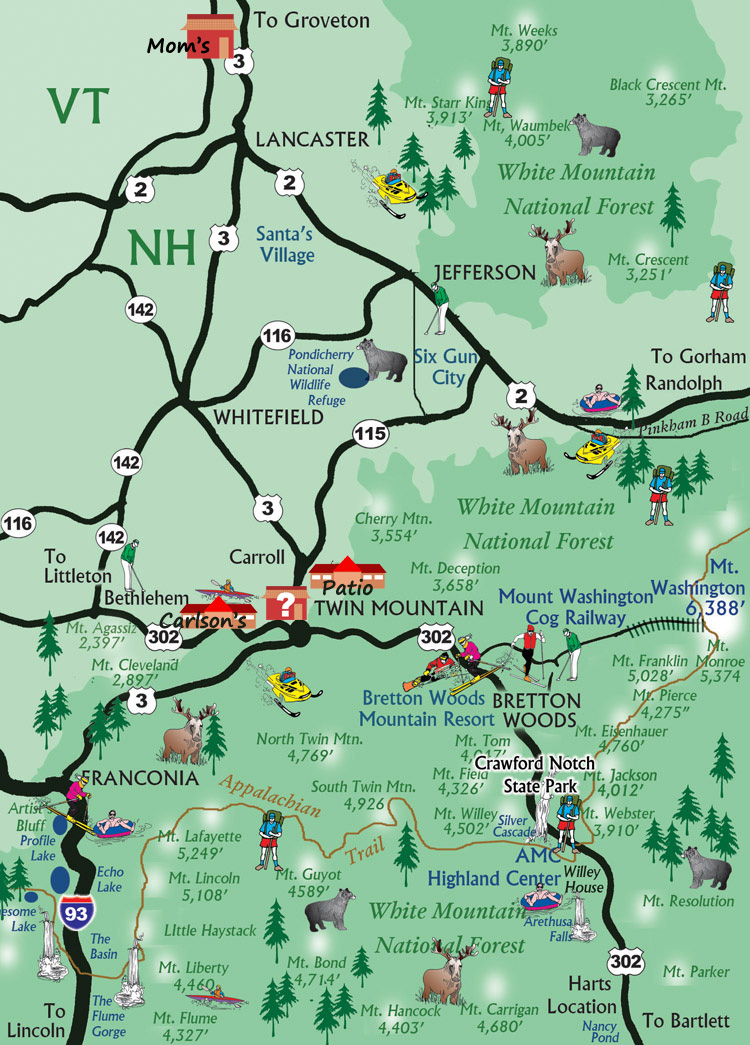 Crawford Notch and North Advertiser Map
