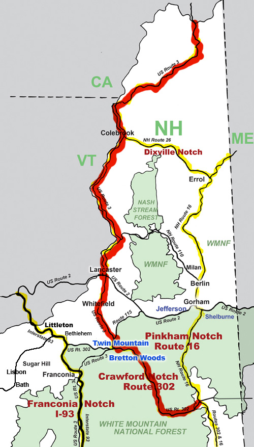 Crawford Notch and North Road Map